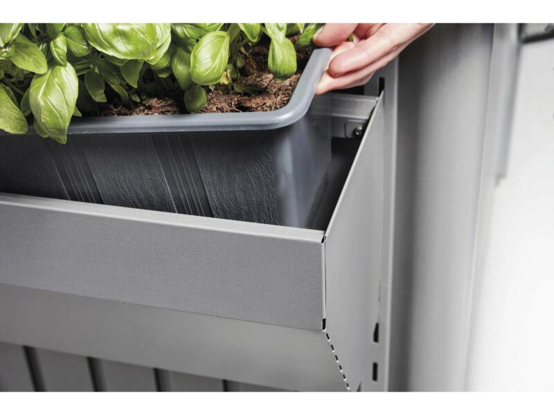 Biohort FloraBoard bac à fleurs 198cm acier gris quartz pour AvantGarde/Highline/Panorama