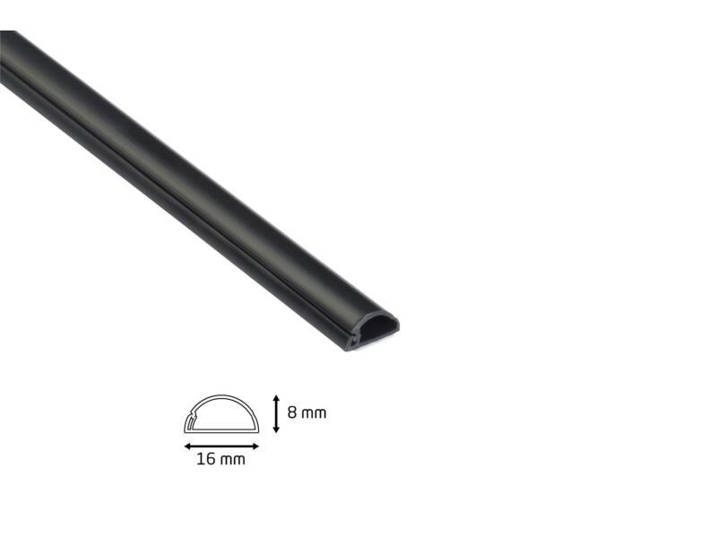 D-Line Goulotte semi cercle 16x8 mm 2m noir