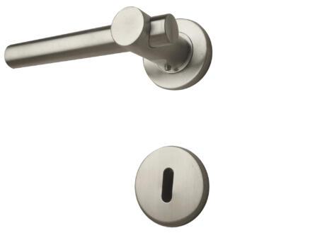 Solid H004 deurklinkset op rozet 50mm inox