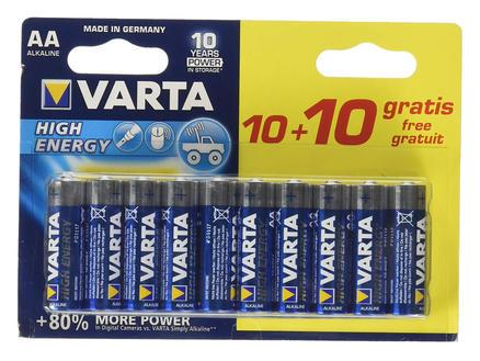 Varta High Energy pile AA 10+10 gratuit