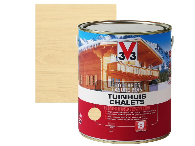 V33 High Protection houtbeits tuinhuis zijdeglans 2,5l kleurloos