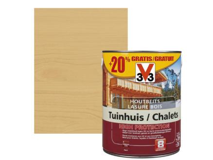 V33 High Protection houtbeits tuinhuis zijdeglans 2,5l lichte eik + 20% gratis