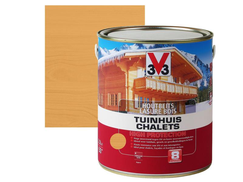 V33 High Protection houtbeits tuinhuis zijdeglans 2,5l lichte eik