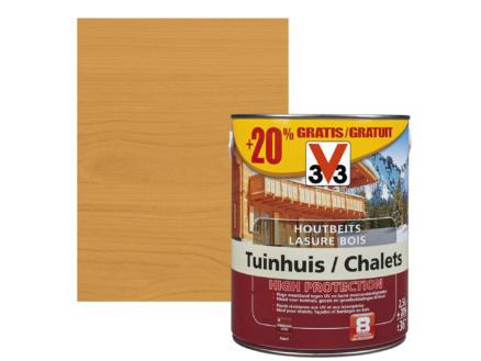 V33 High Protection houtbeits tuinhuis zijdeglans 2,5l midden eik + 20% gratis
