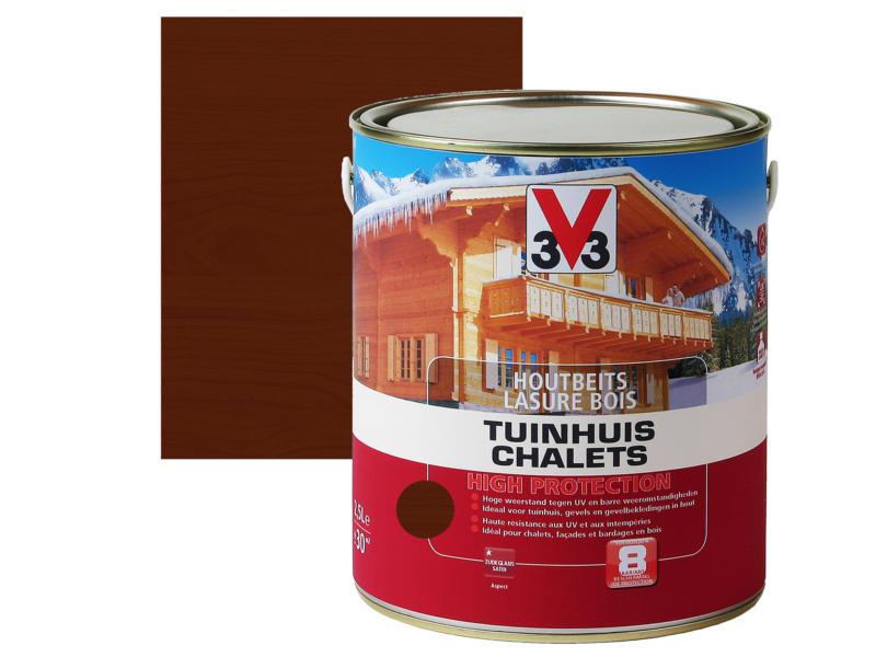 V33 High Protection lasure bois chalet satin 2,5l chêne foncé