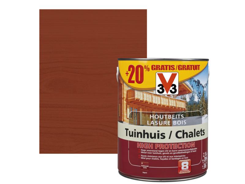 V33 High Protection lasure chalet satin 2,5l + 20% gratuit acajou