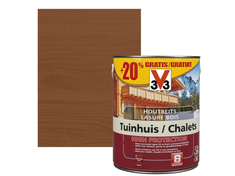 V33 High Protection lasure chalet satin 2,5l + 20% gratuit chêne foncé