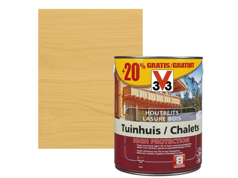 V33 High Protection lasure chalet satin 2,5l + 20% gratuit pin scandinave