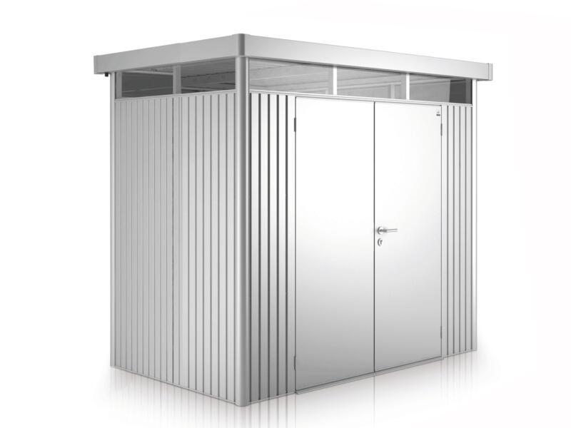 Biohort HighLine H1 tuinhuis 275x155x222 cm met dubbele deur metaal zilver metallic