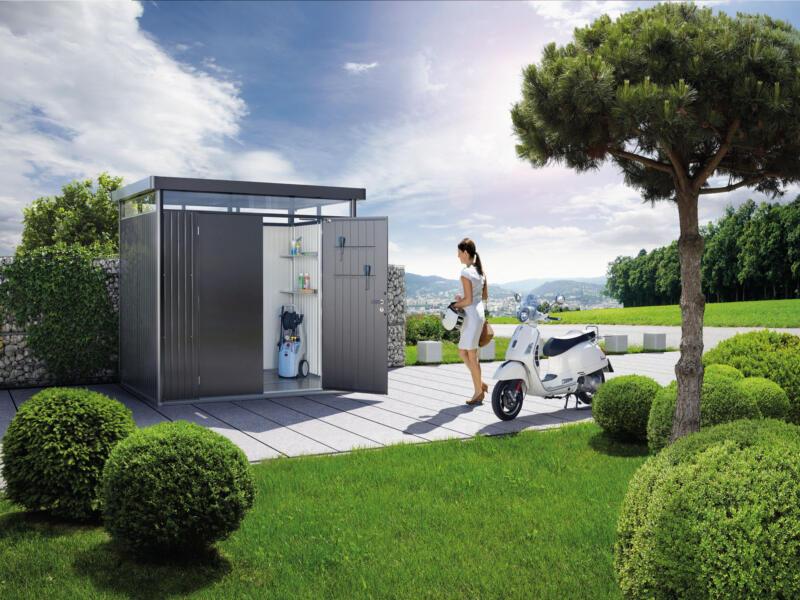 Biohort HighLine H5 tuinhuis 275x315x222 cm met dubbele deur metaal donkergrijs metallic