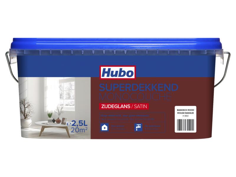 Hubo muur- en plafondverf superdekkend zijdeglans 2,5l baskisch rood