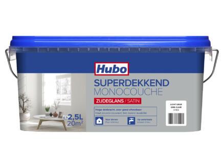 Hubo muur- en plafondverf superdekkend zijdeglans 2,5l lichtgrijs