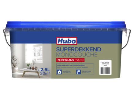 Hubo muur- en plafondverf superdekkend zijdeglans 2,5l olijfgroen