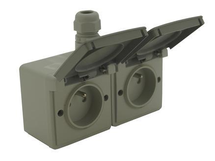 Niko Hydro dubbel stopcontact met doos 1 ingang penaarde en deksel grijs