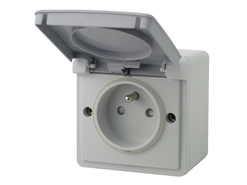 Niko Hydro stopcontact met doos en penaarde grijs