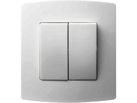 Interrupteur unipolaire deux allumages 10A encastrable blanc
