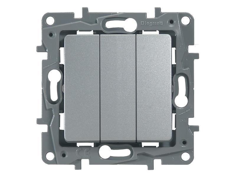 Interrupteur unipolaire simple Niloé 3x aluminium