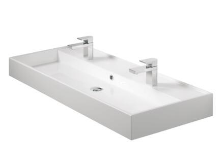 Tiger Items lavabo double encastrable 105cm blanc brillant