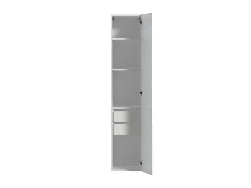 Tiger Items meuble colonne 35cm 2 tiroirs intérieurs blanc brillant