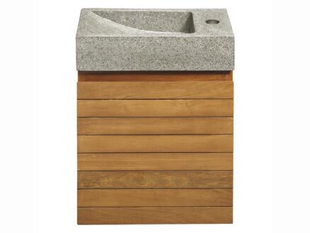 Differnz Java toiletmeubel met handenwasser 40cm teak grijs