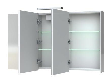 Allibert Juno armoire de toilette 120cm 3 portes miroir blanc brillant
