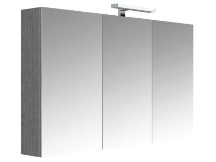 Allibert Juno armoire de toilette 120cm 3 portes miroir chêne anthracite