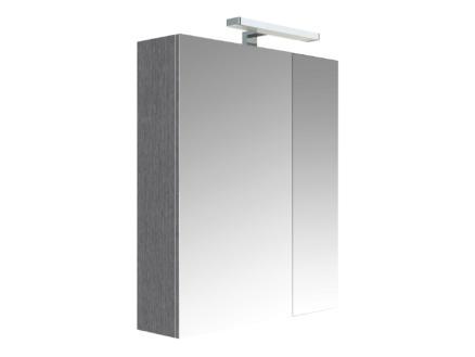 Allibert Juno armoire de toilette 60cm 2 portes miroir chêne anthracite