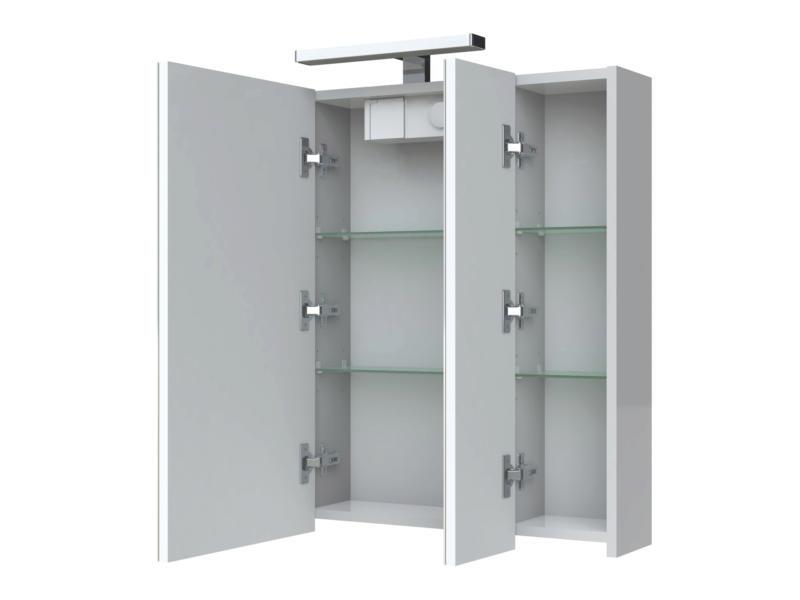 Allibert Juno armoire de toilette 70cm 3 portes miroir blanc brillant