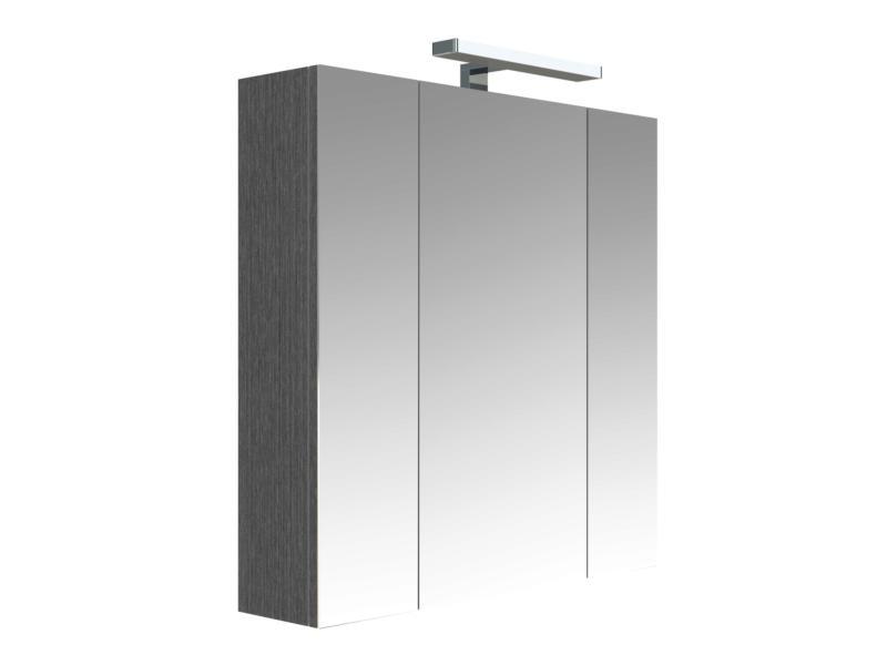 Allibert Juno armoire de toilette 70cm 3 portes miroir chêne anthracite