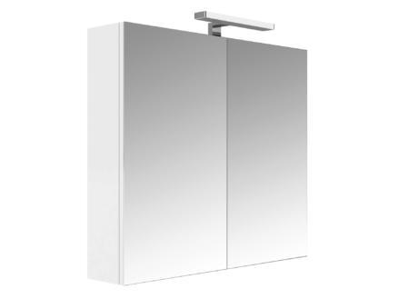Allibert Juno armoire de toilette 80cm 2 portes miroir blanc brillant