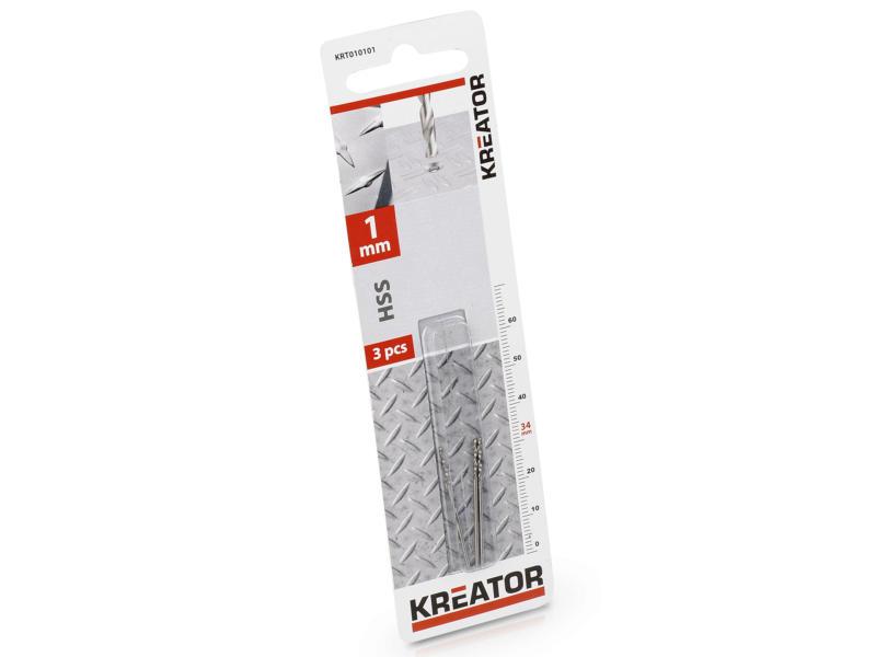 Kreator KRT010101 foret à métaux HSS-TiN 1mm 3 pièces