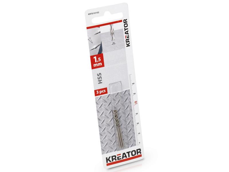 Kreator KRT010102 foret à métaux HSS 1,5mm 3 pièces