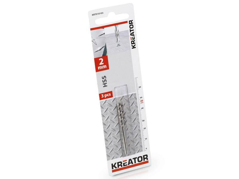 Kreator KRT010103 foret à métaux HSS 2mm 3 pièces