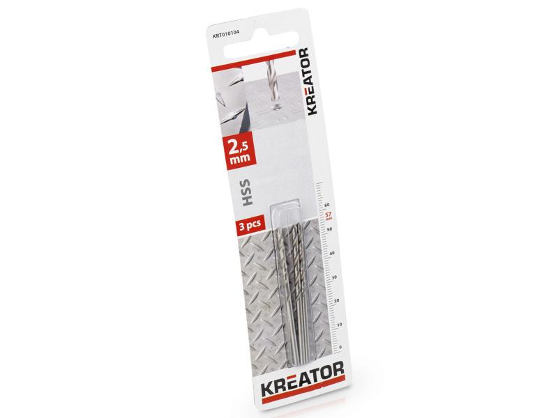 Kreator KRT010104 metaalboor HSS 2,5mm 3 stuks