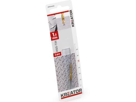 Kreator KRT010202 metaalboor HSS-TiN 1,5mm 2 stuks