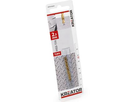 Kreator KRT010204 metaalboor HSS-TiN 2,5mm 2 stuks