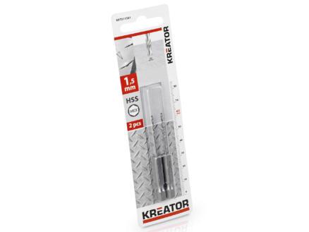 Kreator KRT011301 foret à métaux HSS HEX 1,5mm 2 pièces