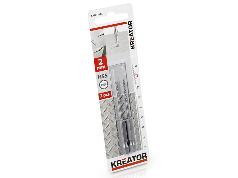 Kreator KRT011302 foret à métaux HSS HEX 2mm 2 pièces
