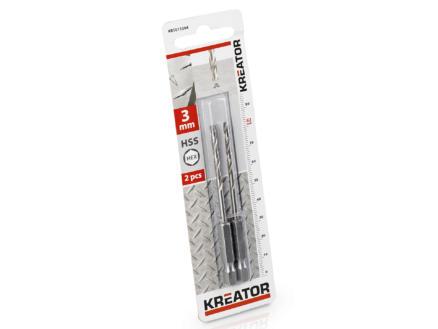 Kreator KRT011304 foret à métaux HSS HEX 3mm 2 pièces