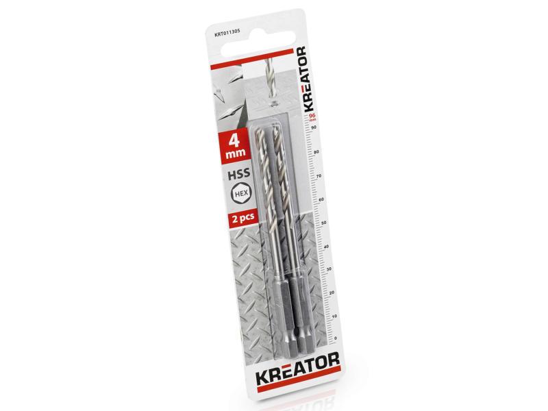Kreator KRT011305 foret à métaux HSS HEX 4mm 2 pièces