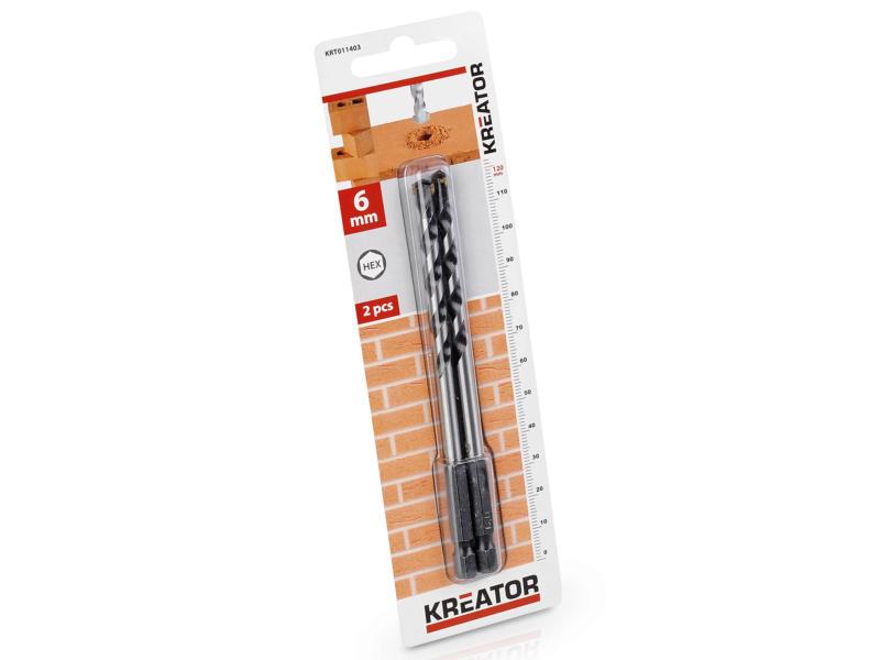 Kreator KRT011403 mèche à pierre HEX 6mm 2 pièces