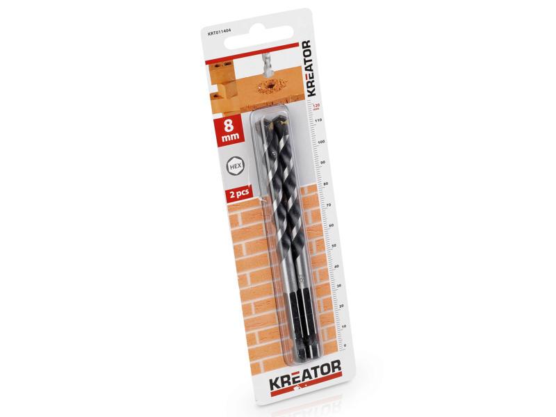Kreator KRT011404 mèche à pierre HEX 8mm 2 pièces
