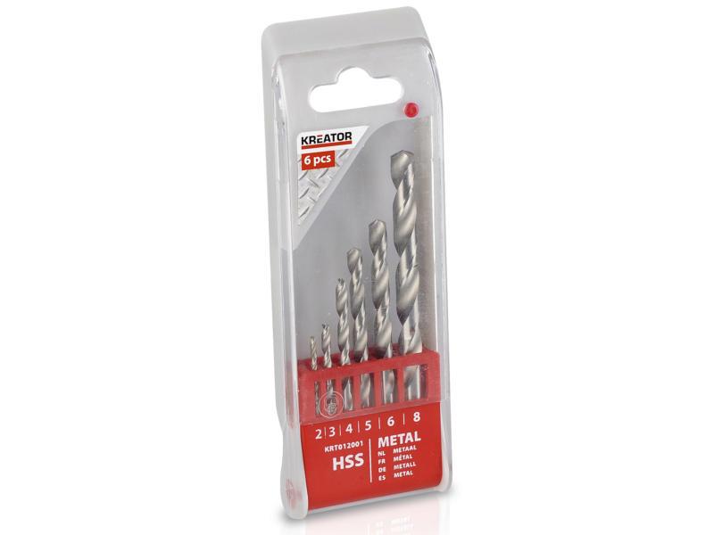 Kreator KRT012001 forets à métaux HSS 2-8 mm set de 6