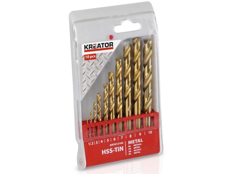 Kreator KRT012102 metaalborenset HSS-TiN 1-10 mm 10-delig