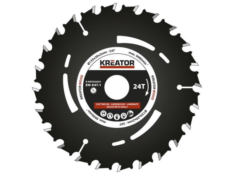 Kreator KRT020301 lame de scie circulaire 135mm 24D bois