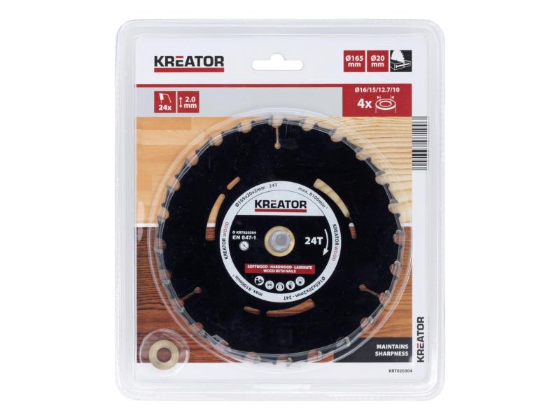 Kreator KRT020304 cirkelzaagblad 165mm 24T hout