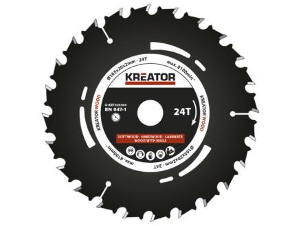 Kreator KRT020304 lame de scie circulaire 165mm 24D bois