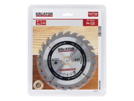 Kreator KRT020414 lame de scie circulaire 185mm 24D bois