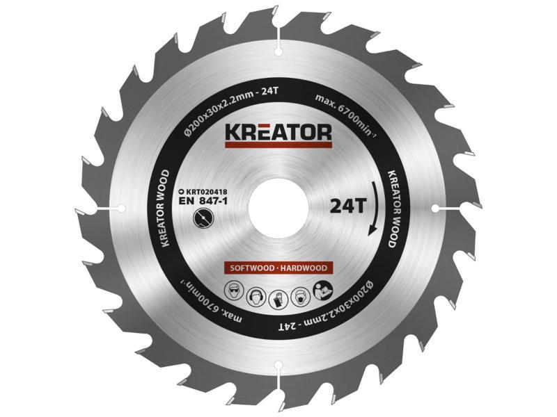 Kreator KRT020418 lame de scie circulaire 200mm 24D bois