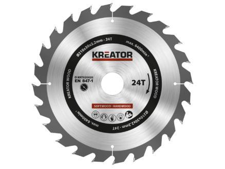Kreator KRT020420 lame de scie circulaire 210mm 24D bois